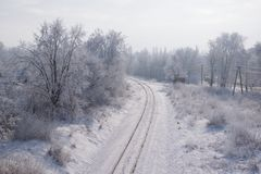 Scenic view of railway along snowy trees. Scenic view of railway going along snowy trees stock photos