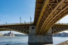 Scenic view of Margit bridge in Budapest. stock image