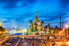 Scenic view of the Red Square at dusk, Moscow, Russia Royalty Free Stock Photography