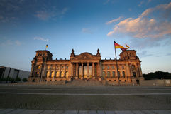 Scenic view on Reichstag in the evening Stock Photo