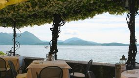 Scenic view from restaurant terrace. stock video footage