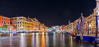 Scenic view of the Rialto Bridge, venice at night Royalty Free Stock Photo