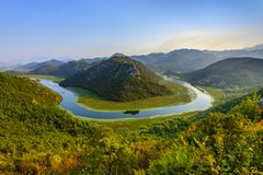 Scenic view of Rijeka Crnojevica river loop at Skhadar lake, Montenegro. Beautiful Balkan landscape, Europe royalty free stock photos
