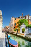 View of the Rio Marin Canal and medieval houses in Venice, Italy. Scenic view of the Rio Marin Canal and colorful facades of medieval houses in Venice, Italy Royalty Free Stock Photo