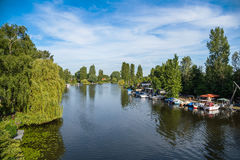 Scenic view of river Bille in Hamburg Royalty Free Stock Images