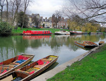 Scenic View of River Cam in Cambridge, England. A stunning scenery of colorful boats and the River Cam in early spring in Cambridge, England Stock Images