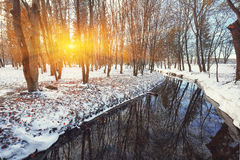 Scenic view of the river and trees with first snow Stock Photo