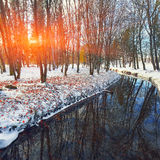 Scenic view of the river and trees with first snow. Royalty Free Stock Photography