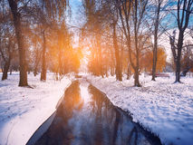 Scenic view of the river and trees with first snow Stock Photos