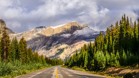 Scenic view of the road on Icefields parkway, Canadian Rockies. Canada stock photo