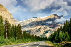 Scenic view of the road on Icefields parkway, Canadian Rockies Royalty Free Stock Image