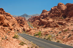 Scenic view on the road in the Valley of Fire Royalty Free Stock Photos