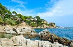 Scenic view of rocky coast, Lloret de Mar, Costa Brava, Spain stock photo
