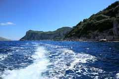 Rocky coastline of Tyrrhenian sea, Capri island - Italy Royalty Free Stock Photo