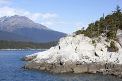 Alaska`s Smuggler`s Cove. The scenic view of a rocky coastline of Smuggler`s Cove outside Skagway town Alaska Stock Images