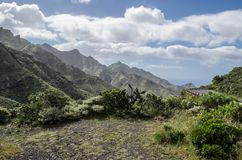 A scenic view of rocky landscape in anaga rural park , Tenerife royalty free stock photography