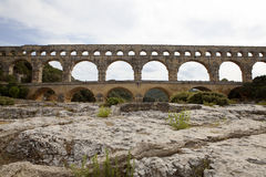 Scenic view of Roman built Pont du Gard aqueduct, Vers-Pont-du-G Royalty Free Stock Photos