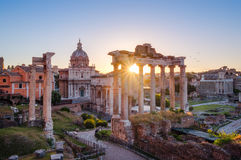 Scenic view of Roman Forum at sunrise, Rome Stock Image