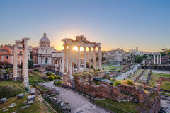 Scenic view of Roman Forum at sunrise, Rome Royalty Free Stock Images