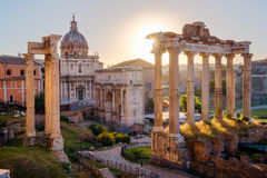 Scenic view of Roman Forum at sunrise, Rome Stock Photo