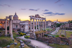 Scenic view of Roman Forum before sunrise, Rome Royalty Free Stock Photos