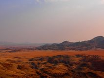 Scenic view of Rostock Mountains, Namibia. The Rostock Mountains are located close to Naukluift Park.  The landscape only consist of Mountains and desert stock image