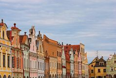 Scenic view of row of colorful houses in the main square of the city Telc. It is the main tourist attraction of the city. A UNESCO World Heritage Site. Telc stock photo