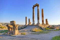 Free Scenic View Ruins Of The Amman Citadel Before Sunset Stock Photo - 160442460