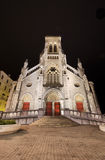 Scenic view of Saint Charles church at night in Biarritz, France. Royalty Free Stock Images