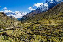 Scenic view on the Salkantay trek. In Peru Royalty Free Stock Photo
