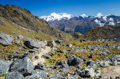 Scenic view during the Salkantay trek. In Peru Royalty Free Stock Image