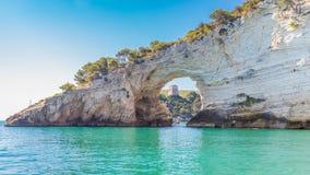 View of Architello or San Felice arch, on Gargano coast, Apulia,. Scenic view of San Felice bay with is natural arch Architello on Gargano coast, Apulia, Italy Stock Photos