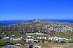 Scenic view of Santorini island stock images