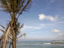 Scenic view of the ocean against blue sky in Galle, Sri Lanka. Scenic view of the calm ocean against cloudy sky close to the shore with green palm trees in Galle stock photography