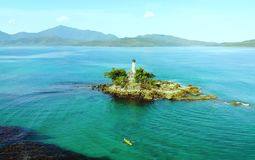 Scenic view of sea bay and mountain islands, Philippines. Scenic view of sea bay and mountain islands in Philippines stock photo