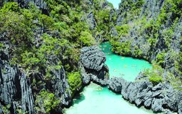 Scenic view of sea bay and mountain islands, Philippines. Scenic view of sea bay and mountain islands in Philippines royalty free stock photo