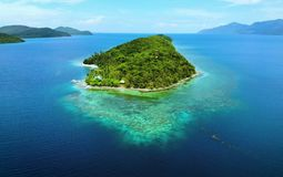 Scenic view of sea bay and mountain islands, Philippines. Scenic view of sea bay and mountain islands in Philippines royalty free stock photography
