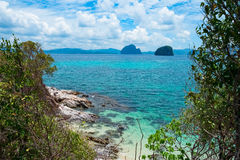 Scenic view of sea bay and rock islands Stock Images