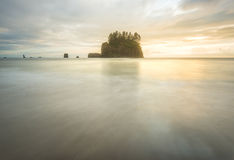 Scenic view of sea stack in Second beach when sunset,in mt Olympmt Olympic National park,Washington,usa. Stock Photo
