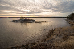 Scenic view on sea. View on Stockholm Archipelago during nday time with shore royalty free stock images