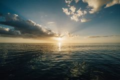 Scenic View of Sea at Sunset Royalty Free Stock Photos