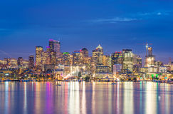Scenic view of Seattle city in the night time with reflection of water. Royalty Free Stock Image