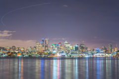 Scenic view of Seattle city in the night time with reflection of Stock Photos