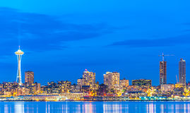 Scenic view of Seattle city in the night time with reflection of Stock Photography
