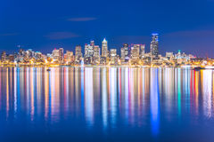 Scenic view of Seattle city in the night time with reflection of Stock Images