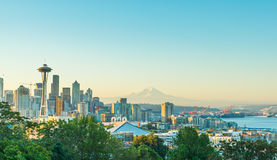 Scenic view of Seattle city scape in winter season with snow covered,Washington,USA. Royalty Free Stock Photos