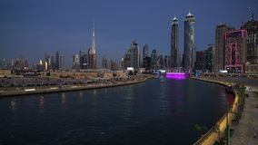Dubai downtown skyline. Scenic view of skyline of Dubai`s downtown after sunset stock video