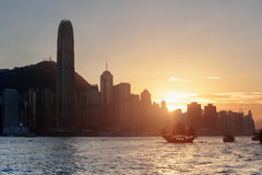 Scenic view of skyscrapers in downtown of Hong Kong at sunset Stock Photos