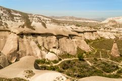 Scenic view of slopes in valley and mountains. In Cappadocia, Turkey Stock Photo