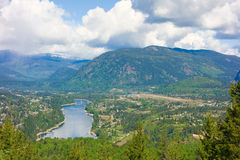 A scenic view of a small town nestled in the rocky mountains Royalty Free Stock Photography